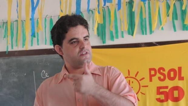 Weslei Garcia em prévias na cidade de Águas Lindas de Goiás onde foi escolhido como pré-candidato, no dia 8 de junho/ Foto: Facebook