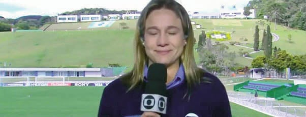 Fernanda Gentil, no dia em que chorou ao vivo na televisão / Foto: Reprodução/TV Globo