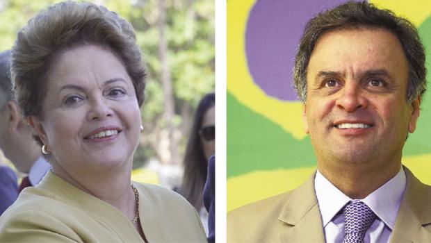 Os candidatos à Presidência Dilma Rousseff e Aécio Neves: uma disputa em segundo turno favorece o tucano | Fotos: Wilson Dias/ Agência Brasil