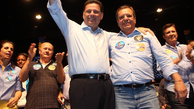 Marconi estava acompanhado do ex-secretário de Estado da Saúde, Antônio Faleiros, candidato a deputado federal Foto: Assessoria