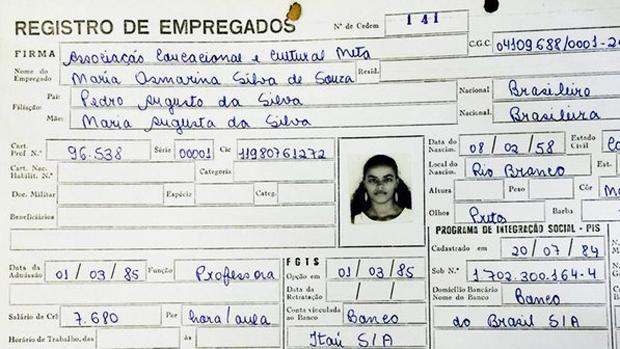 Registro profissional de Marina Silva como professora do Colégio Meta (AC) | Foto: Evaristo de Lucca/Arquivo pessoal/divulgação VEJA