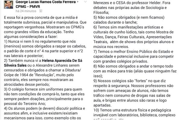 Printscreen do post do aluno George Lucas Ramos Costa Ferreira