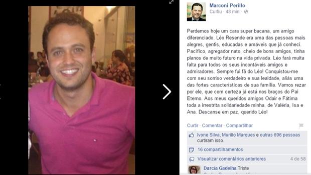 Governador Marconi Perillo lamenta morte de filho do prefeito de ... - Jornal Opção