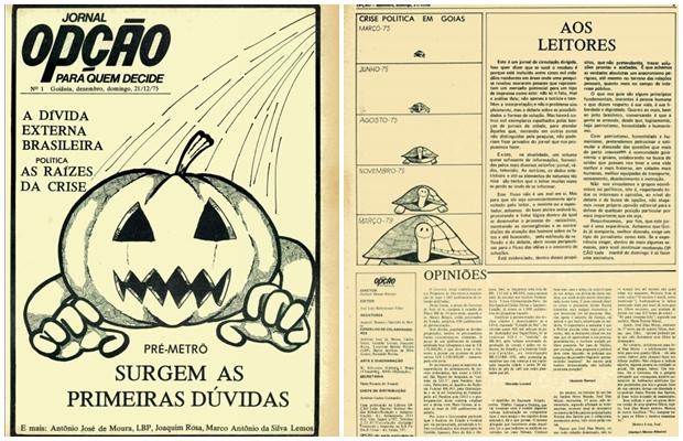 Primeira capa do Jornal Opção, de 21 de dezembro de 1975. À época, edição já tratava do metrô em Goiânia. A ilustração é de Jorge Braga | Foto:  arquivo pessoal