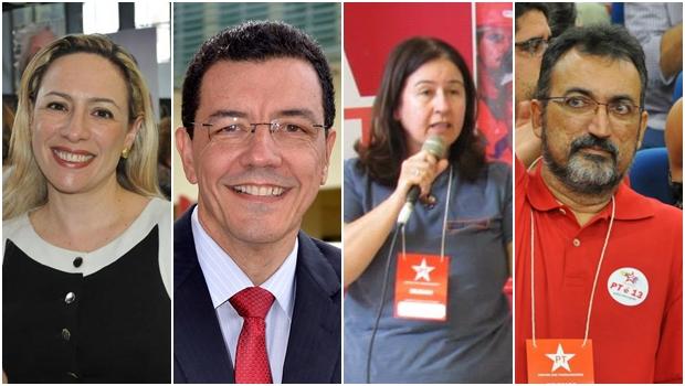 Possíveis candidatos do PT à prefeitura de Goiânia: Adriana Accorsi, Edward Madureira, Marina Sant'Anna e Humberto Aidar | Fotos: reprodução / Facebook