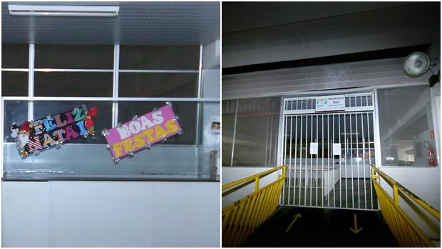 À esquerda, cartazes desejando Feliz Natal e Boas Festas ainda enfeitam uma parede do restaurante; à direita, portas fechadas   Fotos: Fernando Leite / Jornal Opção