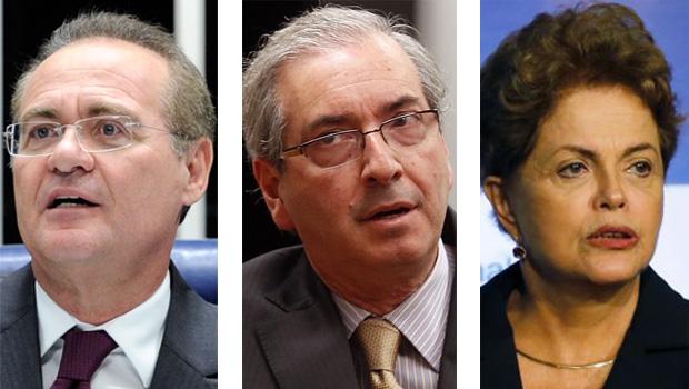 """Renan Calheiros, Eduardo Cunha e Dilma Rousseff: não há salvação para os três políticos de maneira isolada. São três """"mosqueteiros""""   Divulgação/Agência Brasil/Paulo Whitaker/Reuters"""