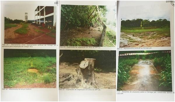 Imagens retiradas do processo, que mostram a suposta degradação do meio ambiente por parte do Clube Jaó
