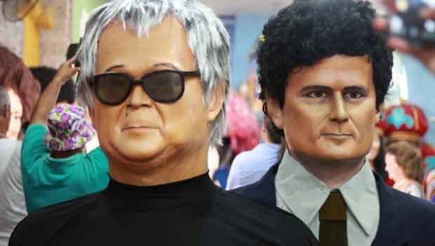 Bonecos representando o juiz Sérgio Moro e o agente Newton Ishii: pesadelo dos corruptos flagrados na Lava Jato, eles vão fazer sucesso no carnaval
