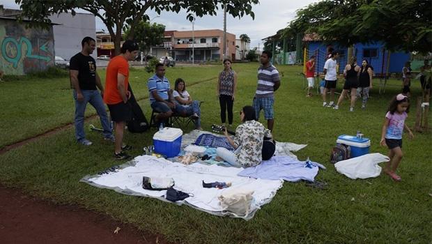 Piquenique e ocupação da praça: encontro de vizinhos serve para marcar posição em favor do uso do espaço da área verde   Foto: Divulgação