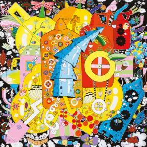 O artista plástico Rodrigo Godá coloriu de amarelo e azul a arte do Fica 201, que acontece em agosto