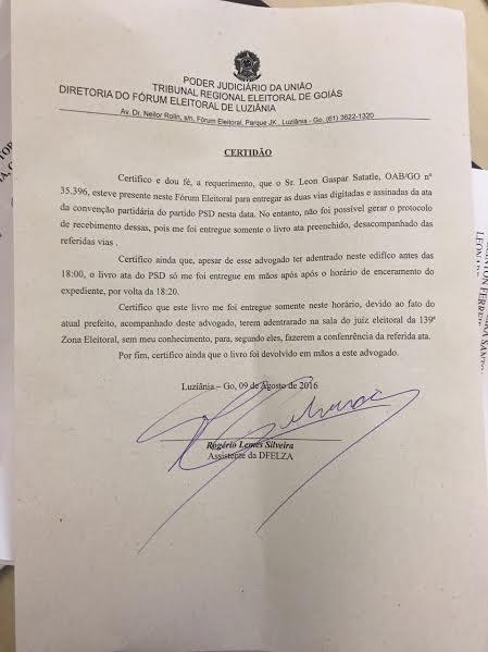 Documento da Justiça Eleitoral mostra que PSD não cumpriu determinações legais