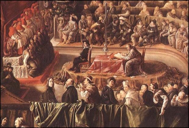 Galileu Galilei julgado pela Inquisição, o tribunal da Igreja Católica