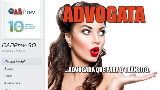 Postagem no facebook da entidade foi considerada ofensiva pela presidente da Comissão de Mulheres da OAB | Foto: Reprodução / Facebook
