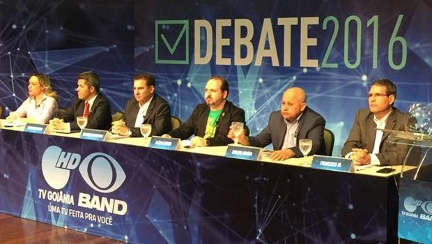 Candidatos Adriana Accorsi (PT), Delegado Waldir (PR), Vanderlan Cardoso (PSB), Flávio Sofiati (PSOL), Djalma Araújo (Rede) e Francisco Jr. (PSD)