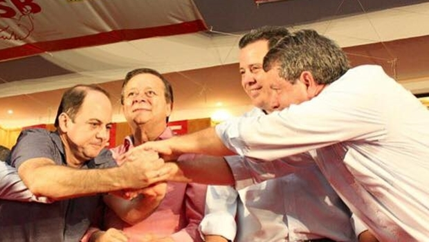 Gugu Nader, o deputado Jovair Arantes, o governador Marconi Perillo e Zé Gomes | Foto: reprodução