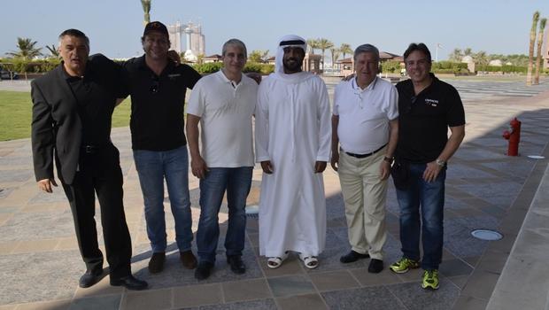 O príncipe Hamad Salem Al Almeri recebe delegação goiana no Emirates Palace Hotel, em Abu Dhabi   Foto: Divulgação