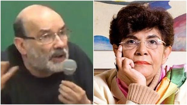 Ruy Fausto e Marilena Chaui, filósofos e professores da USP: o primeiro diz que, ao se tornar uma espécie de porta-voz do PT, subordinando-se ao partido, a segunda escamoteia a verdade