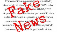 Fake news: Prorrogação de quarentena até o dia 1º de maio é falsa