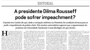"""""""Um impeachment de Dilma  precisaria de estudo aprofundado"""""""