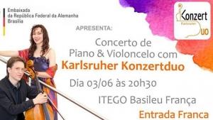 Basileu França recebe Karlsruher Konzertduo, um concerto de piano e violoncelo