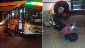 Motoqueiro fica ferido ao tentar ultrapassar ônibus em Goiânia