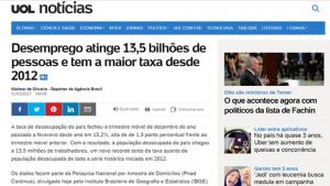 UOL diz que número de desempregados no Brasil é superior ao de habitantes da Terra
