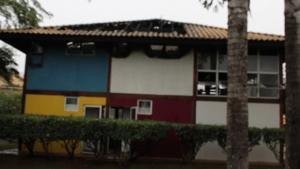 Incêndio destrói a academia do condomínio Housing Flamboyant