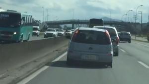 Carro é flagrado trafegando sem um dos pneus traseiros na BR-101