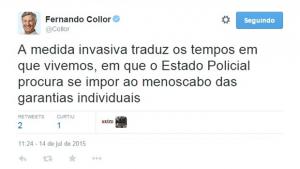 """Collor critica Polícia Federal e fala em """"clima de terror e perseguição"""""""