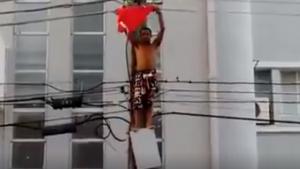 Homem morre eletrocutado após subir em poste de energia para ver Dilma