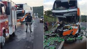 Colisão entre ônibus e carreta mata casal de idosos e deixa 28 feridos em Goiás