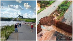 Agetop avalia estragos após rompimento de barragem na GO-070, entre Itaberaí e Itauçu