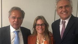 Caiado e futura secretária da Fazenda, Cristiane Schmidt, se encontram com Paulo Guedes